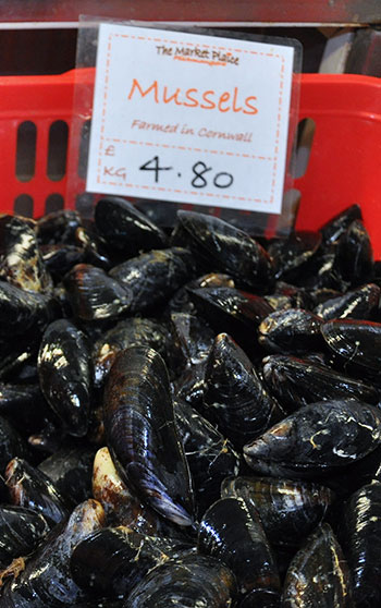 Lost of mussels in a red basket for sale in a market